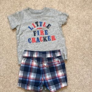 Carters size 6 months T-shirt and shorts set